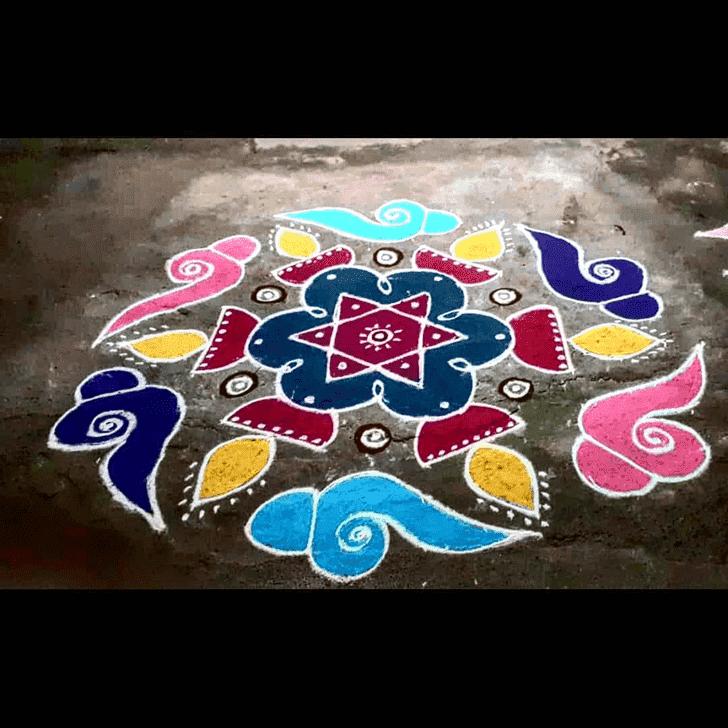 Exquisite Yamuna Chhath Rangoli