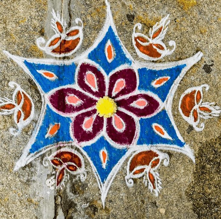 Gorgeous Yamuna Chhath Rangoli
