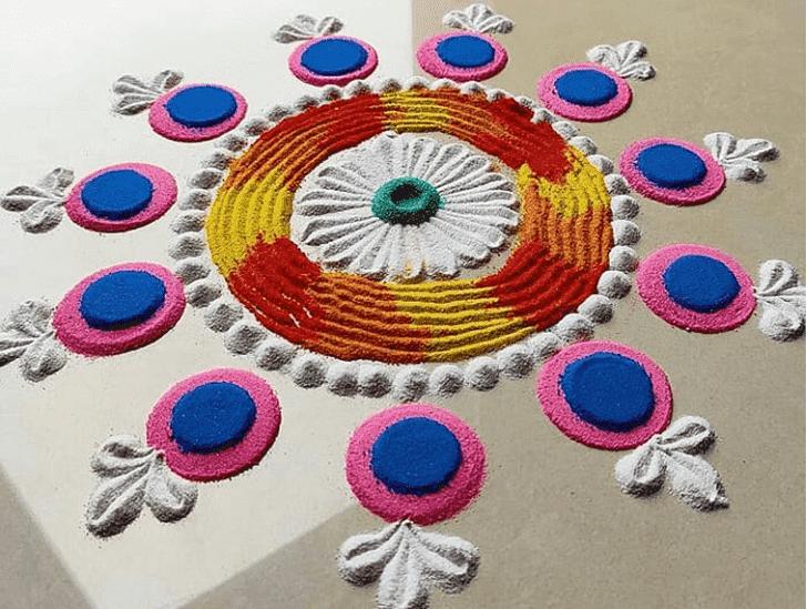 Inviting Yamuna Chhath Rangoli