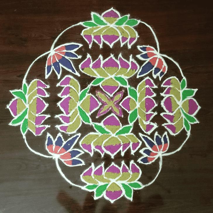 Lovely Yamuna Chhath Rangoli Design