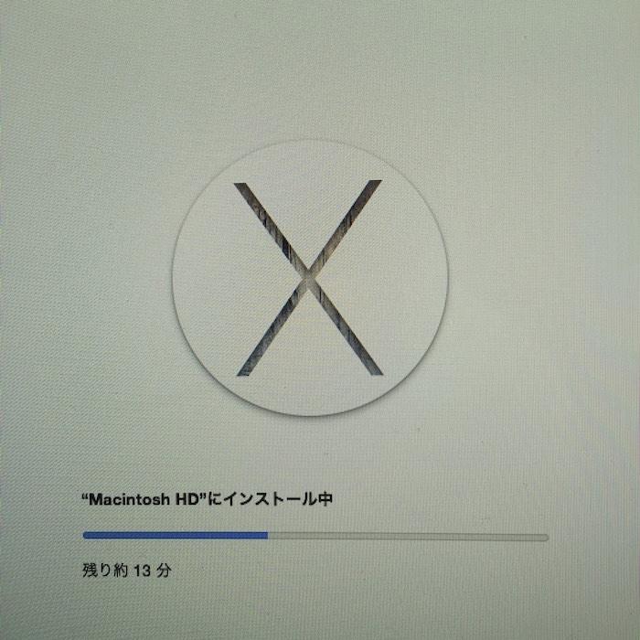 iMacにYosemiteインストール中