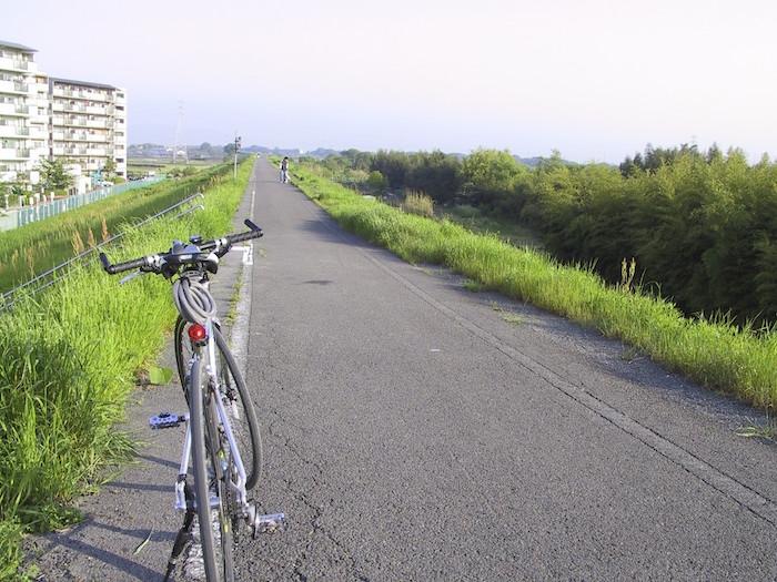 単調な道が続く自転車道