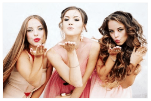 prom 3 girls blowing kiss