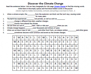 Climate Change Worksheet  Free Printable Seek And Find Word Puzzles