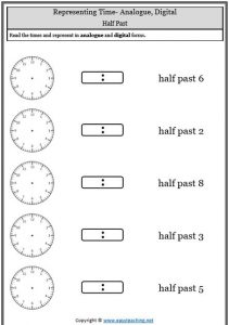 Telling Time Worksheets Oclock Half Past Quarter To