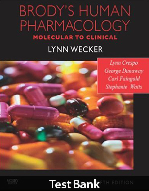 Brody's Human Pharmacology 5th Edition Test Bank By Crespo
