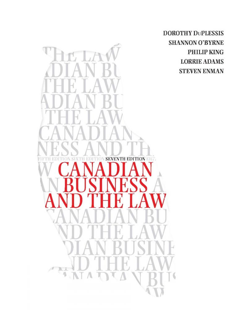Canadian Business and the Law 7th Edition Test Bank By