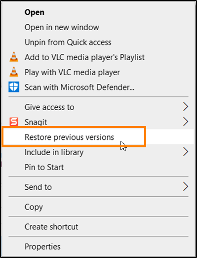 Remove Restore previous versions entry from Context menu