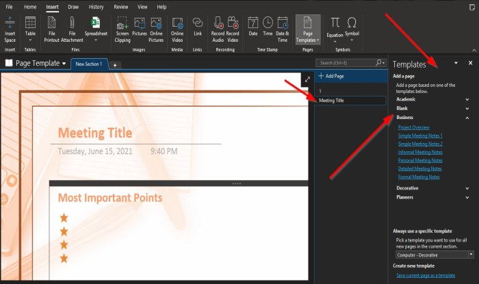 How to use Page Template in OneNote