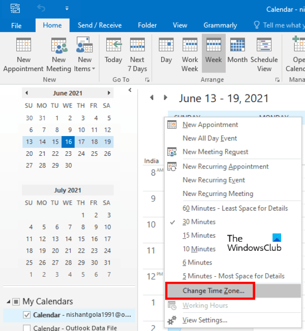 change time zone in Outlook