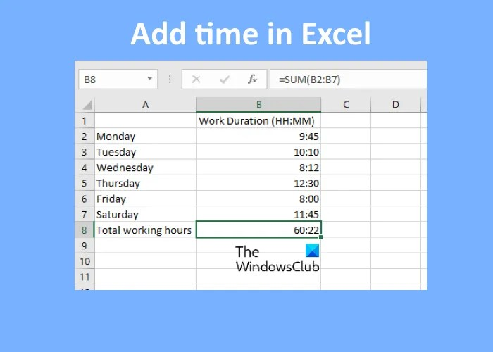 how to add time in Excel