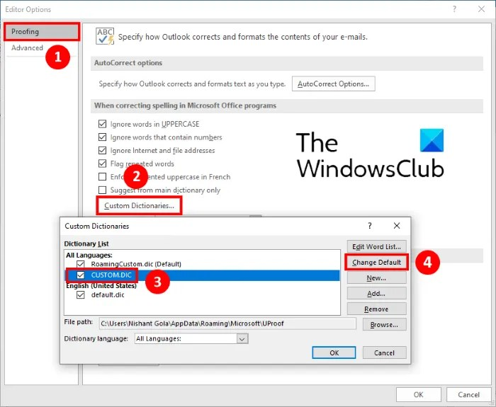custom dictionary not available Outlook