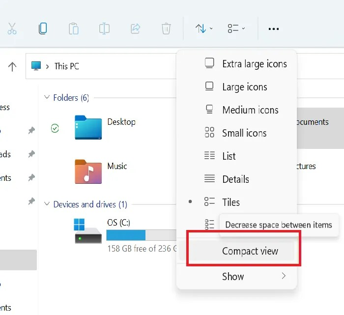 Replace File Explorer's classic spacing on Windows 11