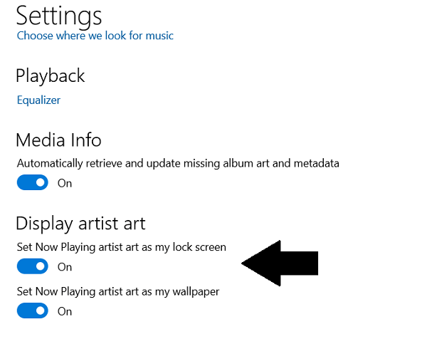 set Artist Art from Groove Music as Lock Screen and Wallpaper