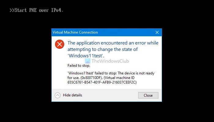 The application encountered an error while attempting to change the state of