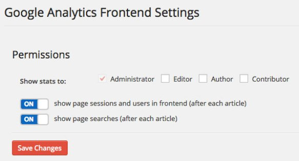 Google Analytics Dashboard WP Frontend Settings