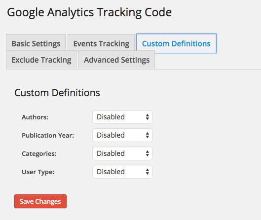 Google Analytics Dashboard WP Tracking Code Custom Definitions