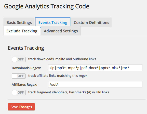 Google Analytics Dashboard WP Tracking Code Events Tracking