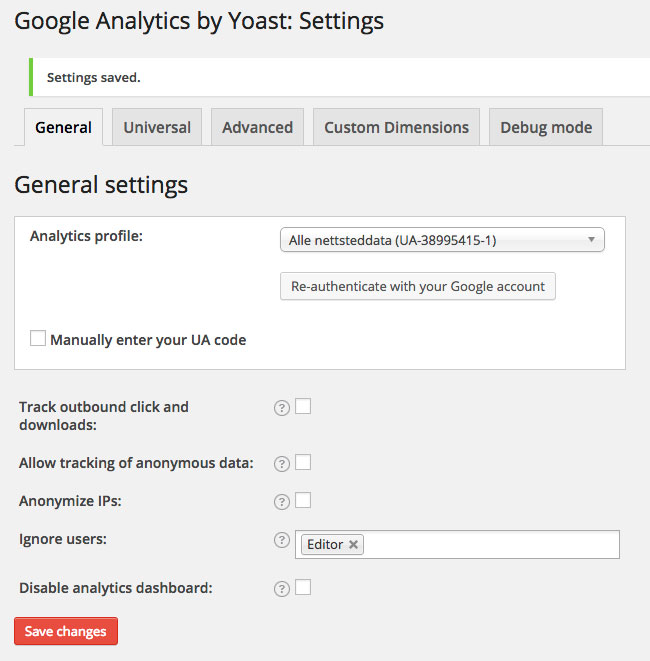 Google Analytics by Yoast Settings General