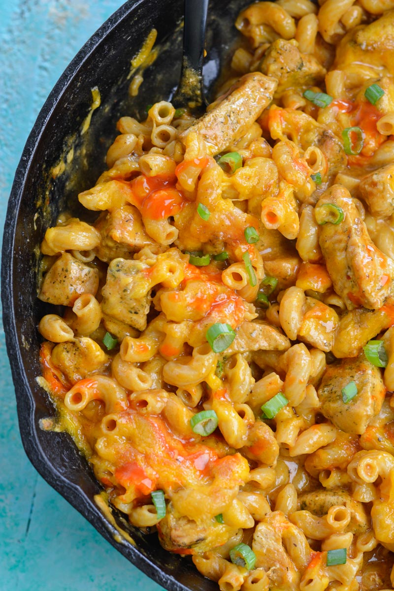 This Buffalo Chicken Mac and Cheese is the ultimate one pan meal! Loaded with noodles, chicken, buffalo sauce and cheese this is a crowd pleasing meal everyone will love!