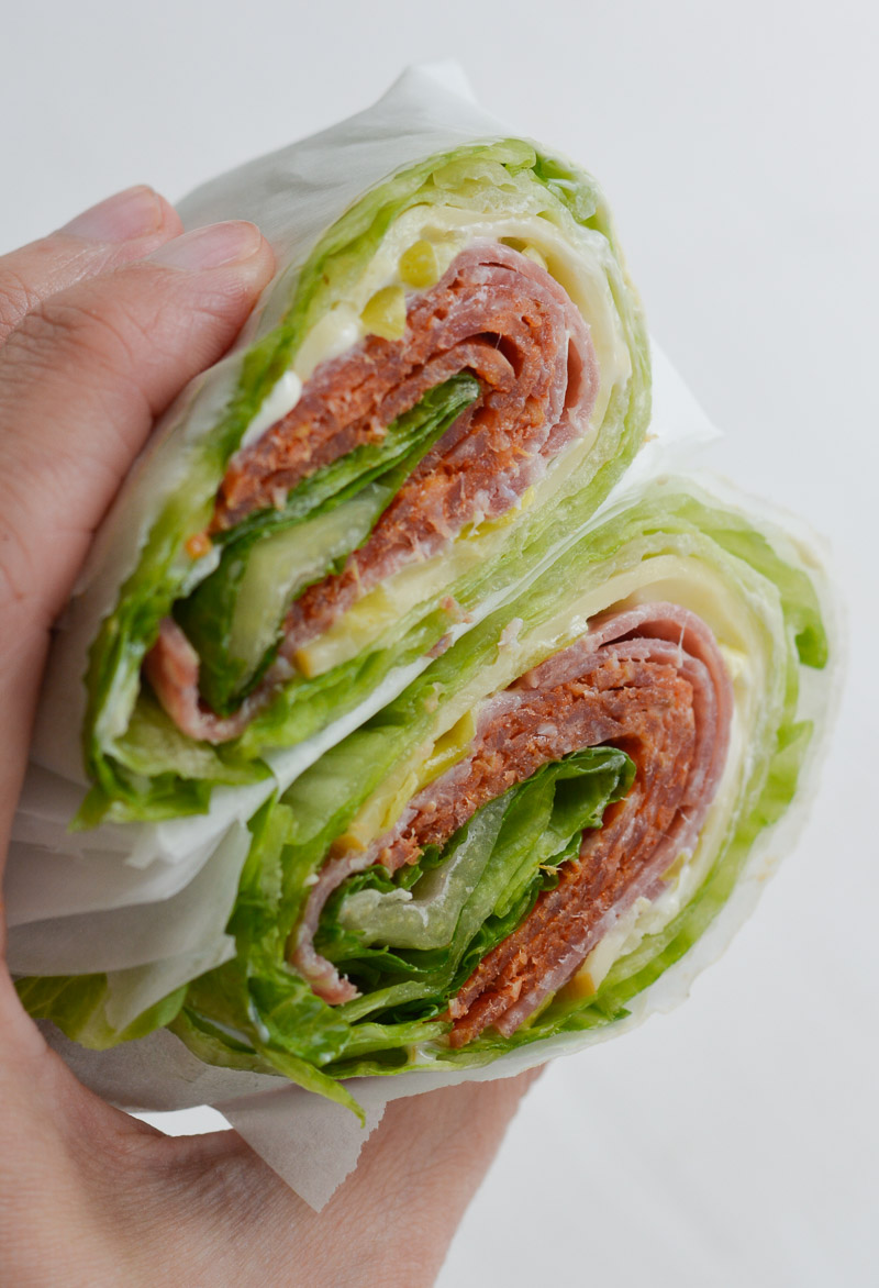 Crunchy iceberg lettuce is wrapped around thick slices of pepperoni, salami and smoked Gouda! At about 3 net carbs this Italian lettuce wrap is the ultimate low carb, keto friendly lunch!