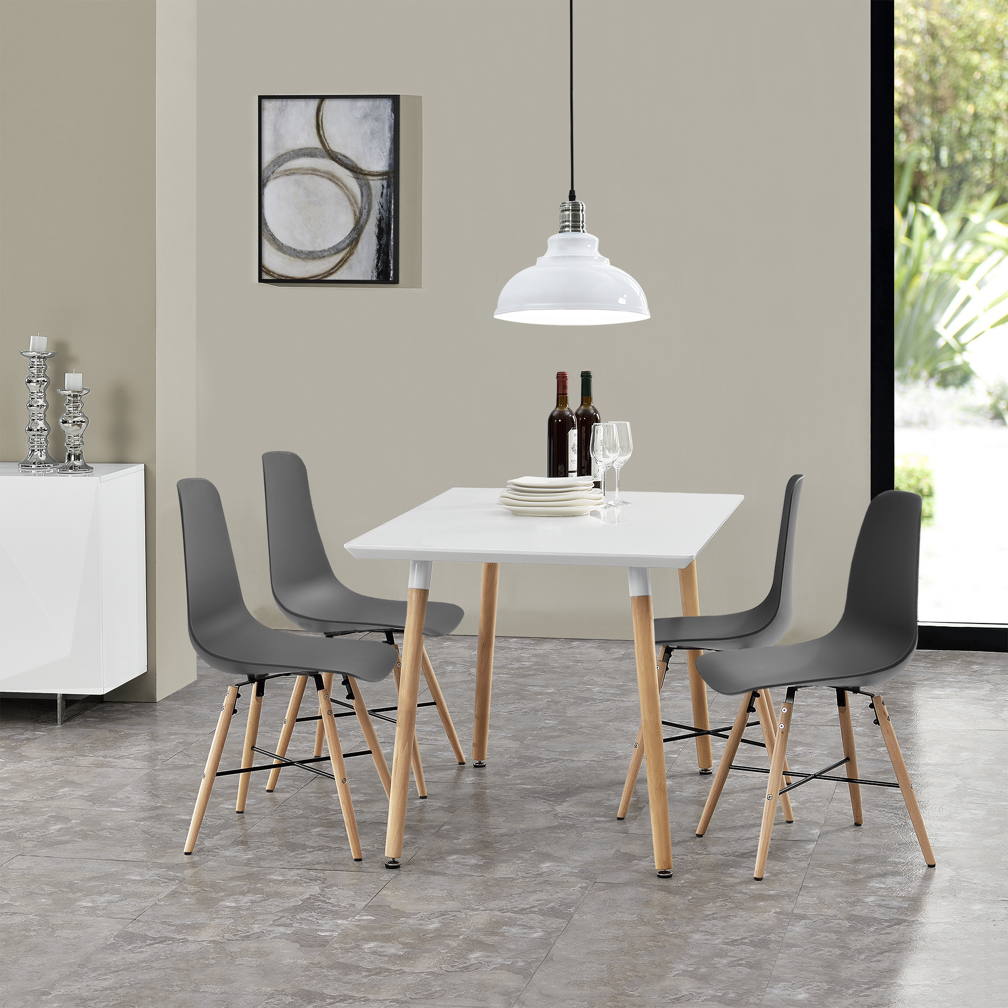 Gray Kitchen Chairs Dining Table With 4 Chairs White Grey 120x70cm Kitchen