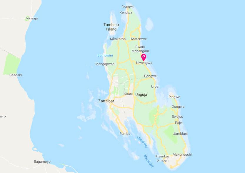 Zanzibar kiwengwa mappa
