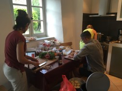 Szymon diligently chopping