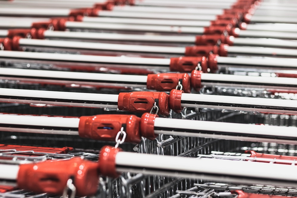 Stacked supermarket trolley