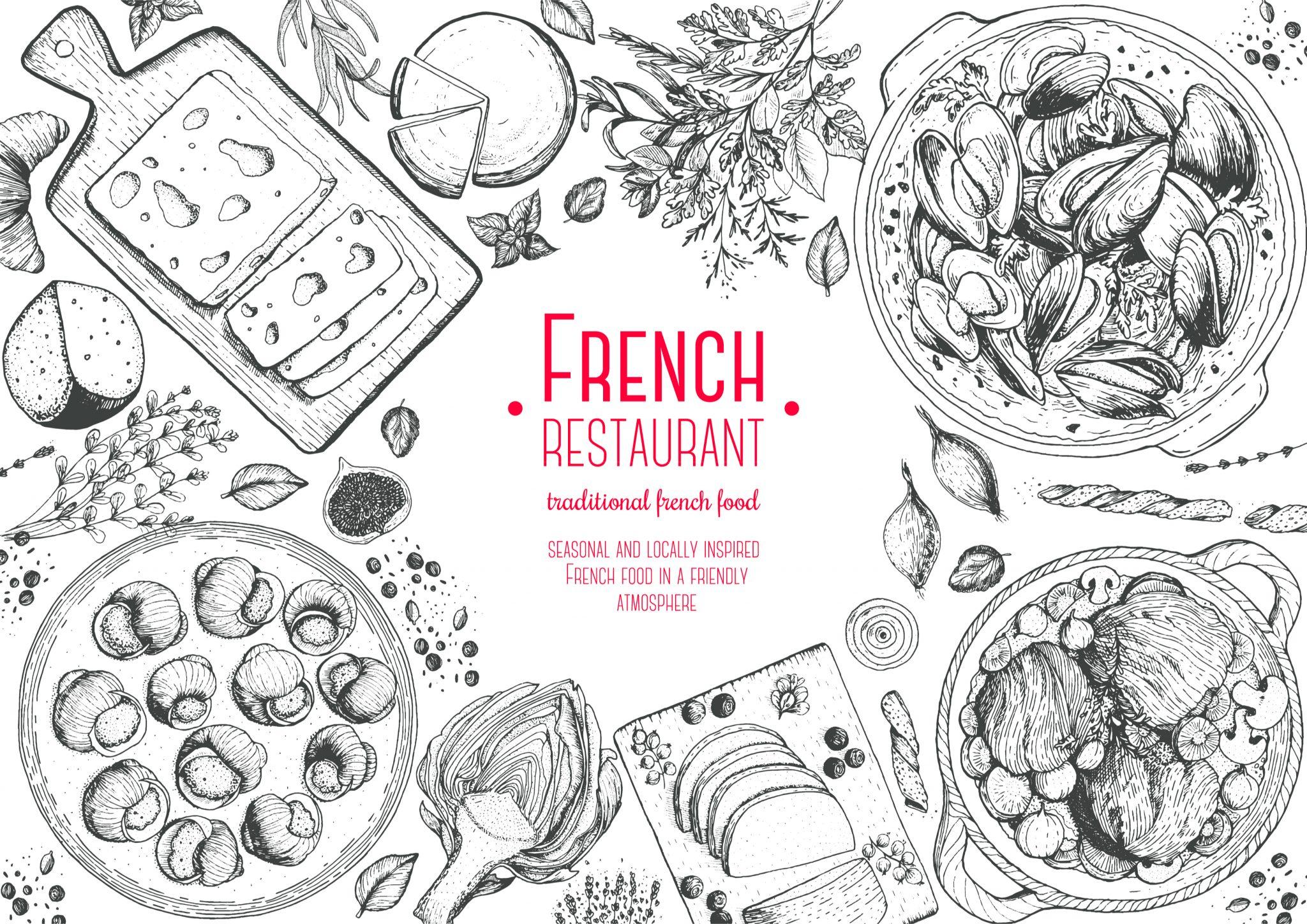 フランス料理のレストランの絵