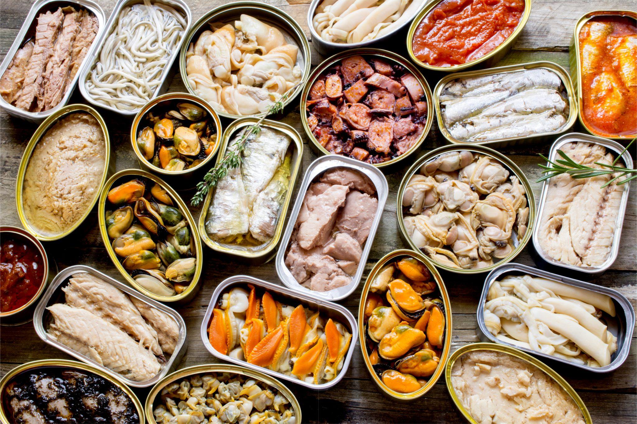 たくさんの種類の魚の缶詰