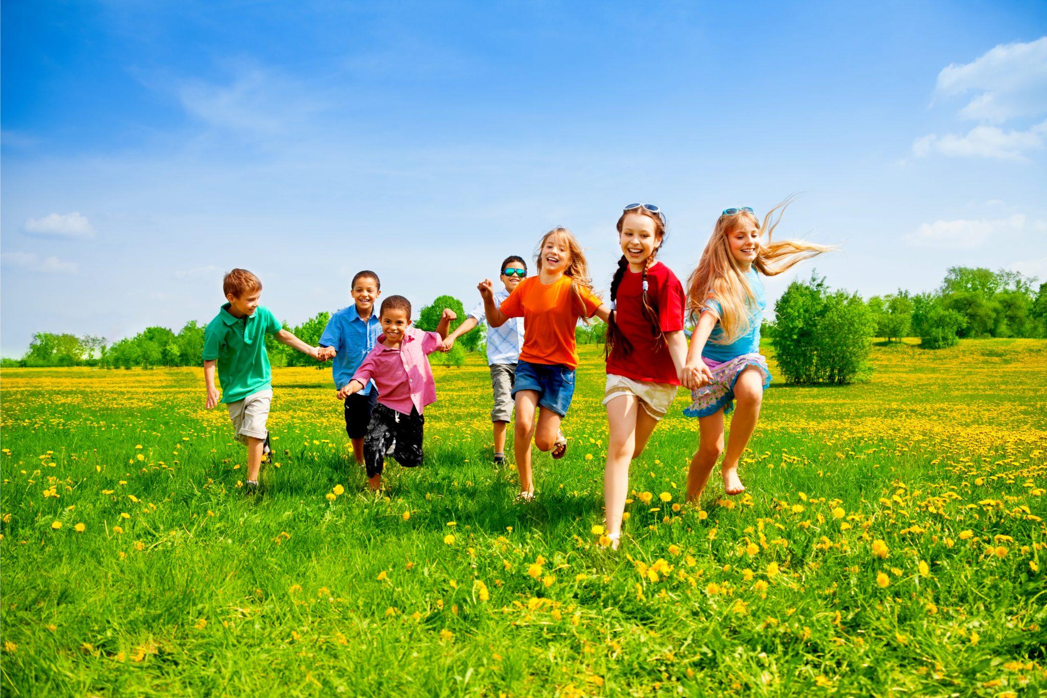 元気に芝生を走り回っている子どもたち