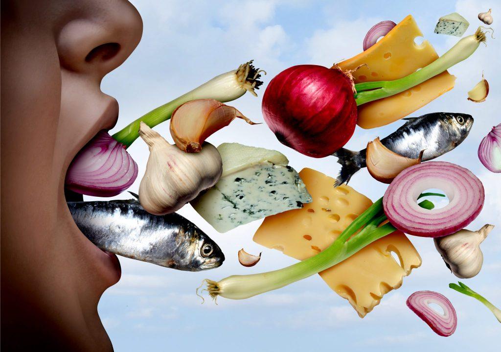 口臭の原因になる食品、食べ物をイラストにした写真