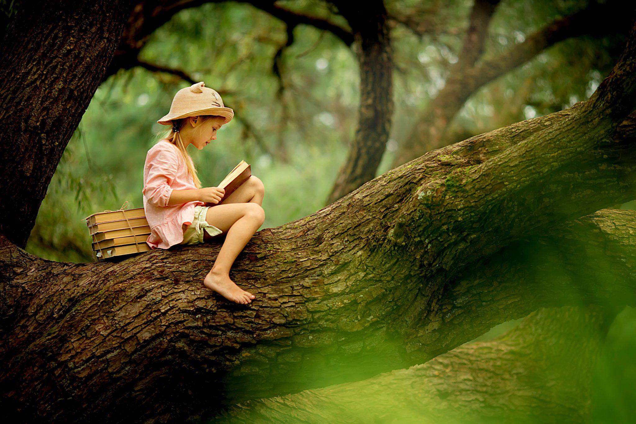 木の上で本を読みながらリラックスしている子ども