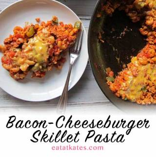 "Bacon-Cheeseburger Skillet Pasta | eatatkates.com - No ""helper"", not even a pot of boiling water, is needed for this delicious skillet pasta. Ground turkey, bacon, tomato, seasonings, and melty american cheese come together for a delicious weeknight meal."
