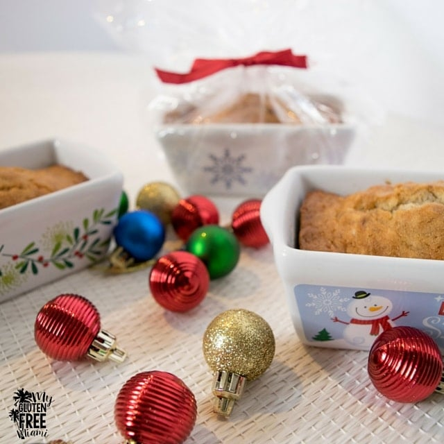 Gluten Free Banana Bread in mini ceramic holiday loaf pans