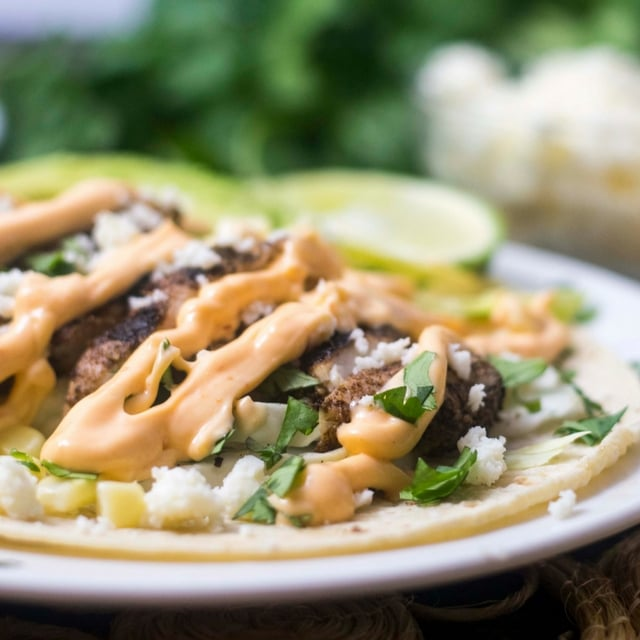 Gluten Free Jamaican Jerk Tacos with Spicy Mayo
