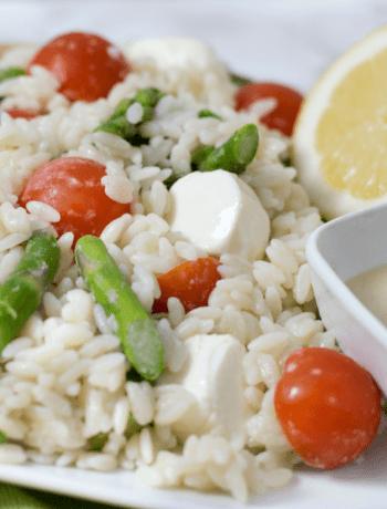 Lemon Tahini Gluten Free Orzo Salad
