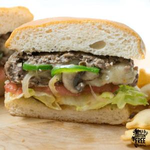 {Gluten Free} Philly Cheesesteak Stuffed Burger