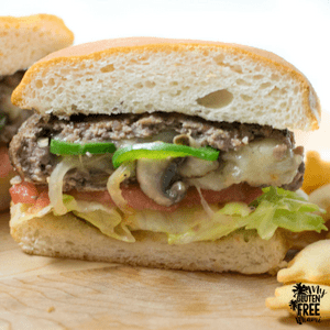 {Gluten Free} Philly Cheesesteak Stuffed Burger
