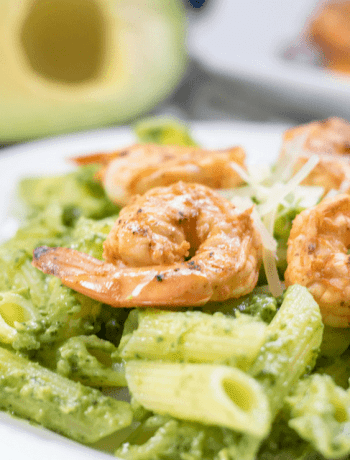 Gluten Free Avocado Arugula Pesto with Chipotle Shrimp