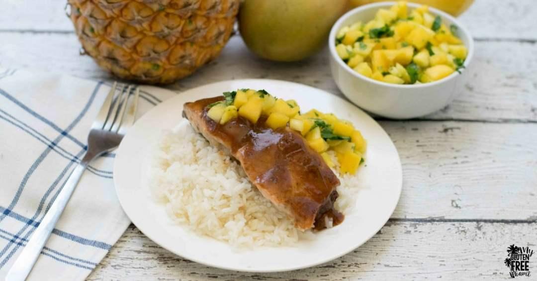 glazed salmon with pineapple mango salsa