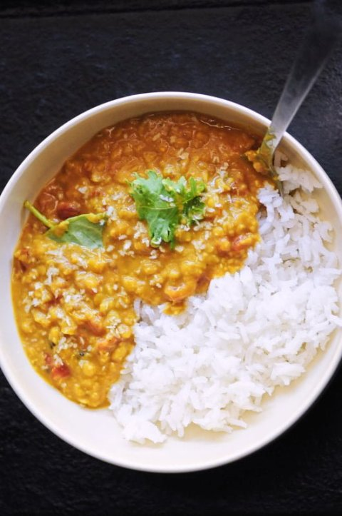Red Lentil Curry with rice