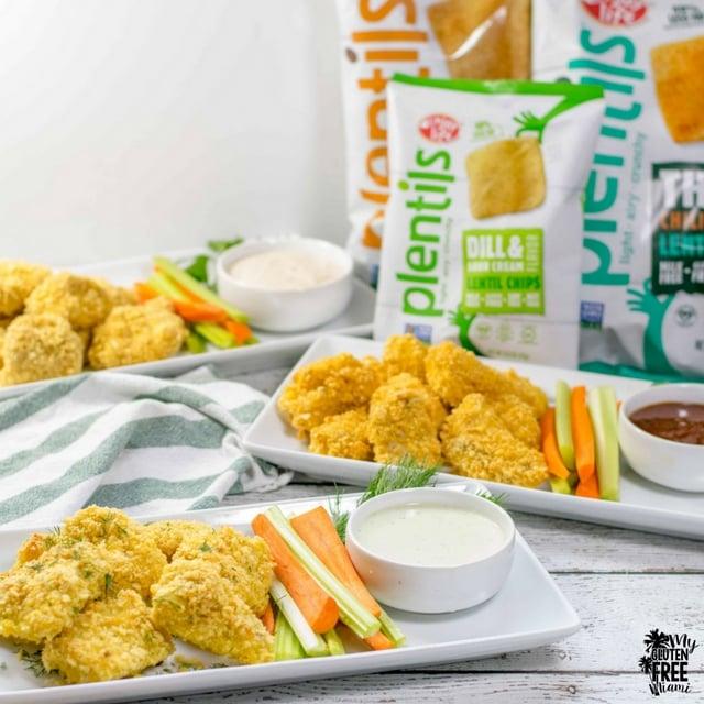 Bags of Plentils with Crunchy gluten free boneless chicken wings