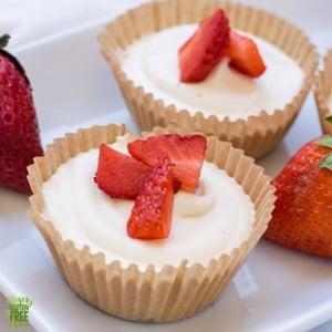 close up shot of no bake cheesecake with strawberries