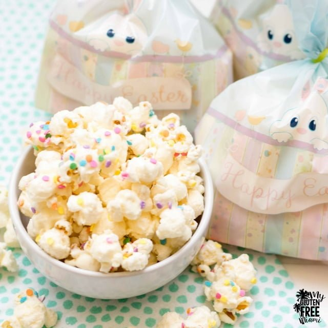 white chocolate popcorn with easter gift bags