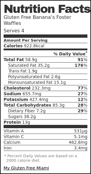 Nutrition label for Gluten Free Banana's Foster Waffles