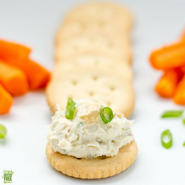 Gluten Free Fish Dip on Crackers