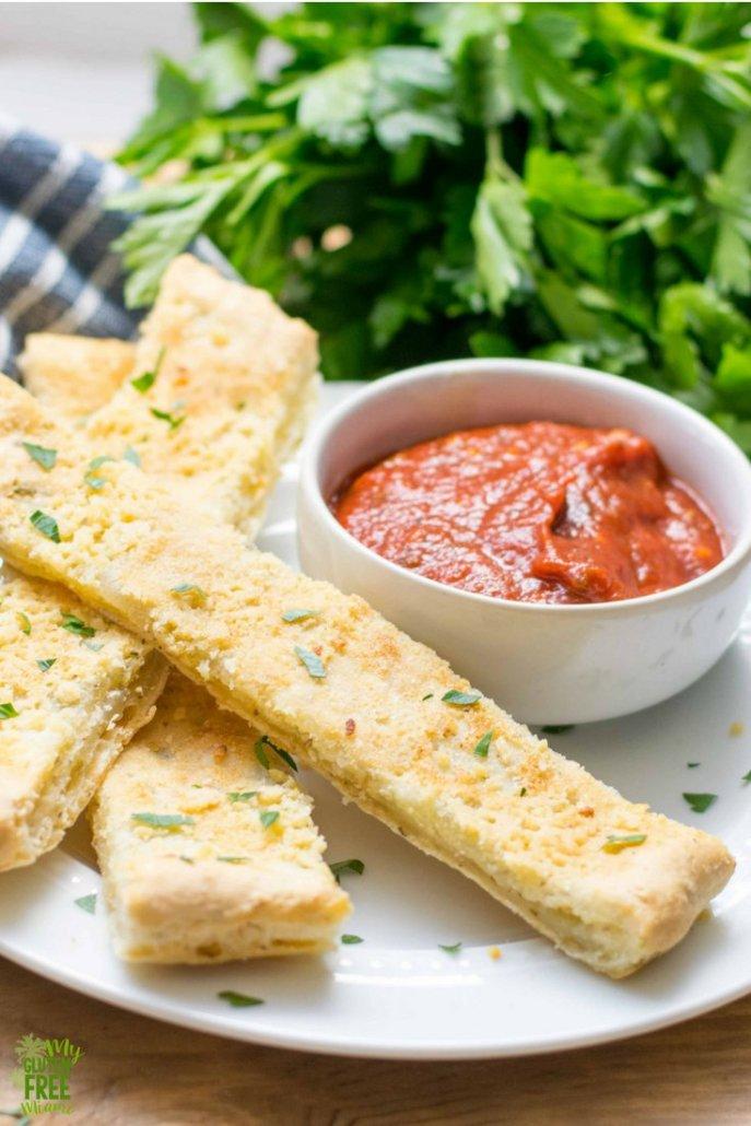 Gluten Free, Dairy Free Cheezy Bread Sticks with Marinara