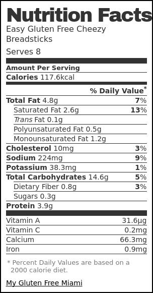 Nutrition label for Easy Gluten Free Cheezy Breadsticks